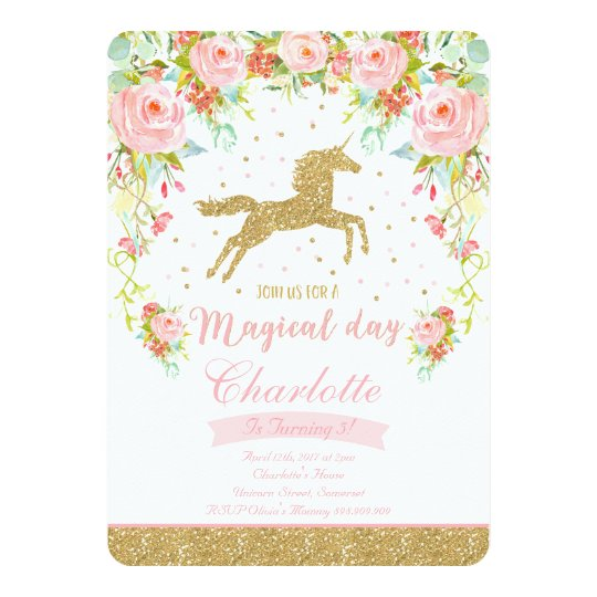 Unicorn Birthday Invitation Pink Gold Unicorn | Zazzle.com