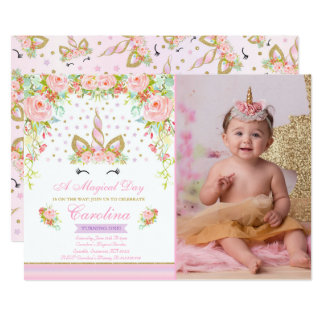 Unicorn Birthday Invitation Pink Gold Unicorn