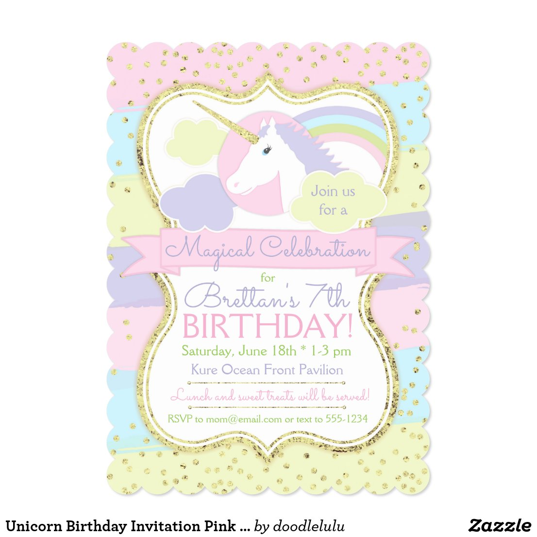 Unicorn Birthday Invitation Pink Purple Gold