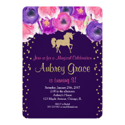 Unicorn birthday invitation, pink purple gold card