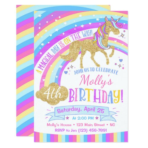 Unicorn Birthday Invitation Rainbow Invite