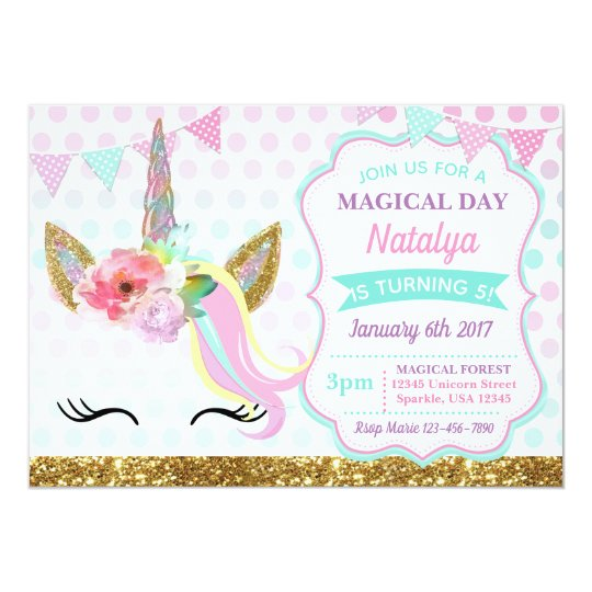 Unicorn Birthday Invitation Sparkle Zazzle Com