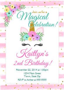 Unicorn Birthday Invitation Girl Sparkle