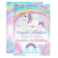 Unicorn Birthday Invitation, Unicorn Party Invite