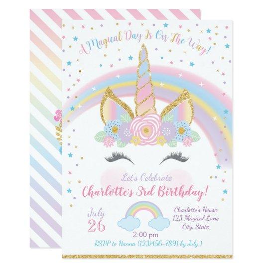 Unicorn Birthday Invitation Unicorn Party Invite Zazzlecom