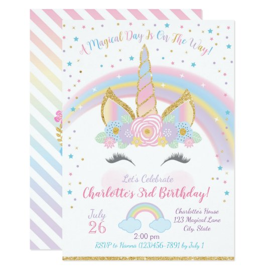 Unicorn Birthday Invitation Unicorn Party Invite Zazzle Com