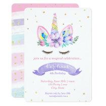 Unicorn Birthday Invitation - Watercolor