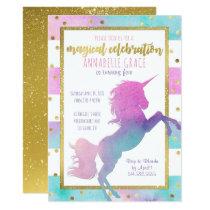 Unicorn Birthday Invitation | Watercolor Glitter