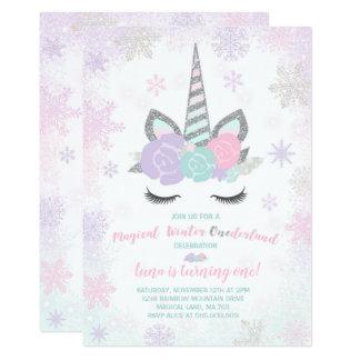 Unicorn Birthday Invitation Winter Unicorn Party
