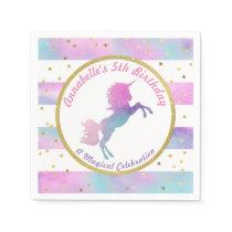 Unicorn Birthday Napkin | Watercolor Glitter