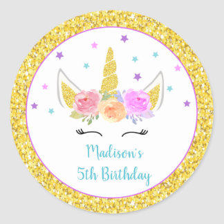 Unicorn Birthday Party Favor Stickers
