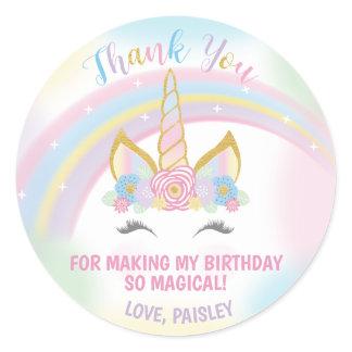 Unicorn Birthday Party Favor Stickers