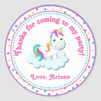 Unicorn Birthday Party Favor Tag Sticker