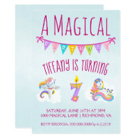 7 year old birthday invitations announcements zazzle unicorn birthday party for 7 year old stopboris Choice Image