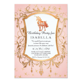 Unicorn Birthday Party Girl Princess Rose Gold Card