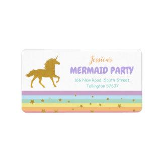 Unicorn Birthday Party Gold Glitter Address Labels