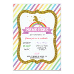 Unicorn Birthday Party Gold Glitter Rainbow Invite