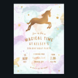 """Unicorn Birthday Party Invitation<br><div class=""""desc"""">Wow your guests with this whimsical unicorn birthday party invitation. It&#39;s cute for small girls but classy enough for teens. It features a colourful pastel cloud background, gold stars and a gold/bronze unicorn. The cloud background can also resemble cotton candy! This birthday party invitation is perfect for a unicorn party,...</div>"""