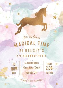 Unicorn Birthday Party Invitations Zazzle