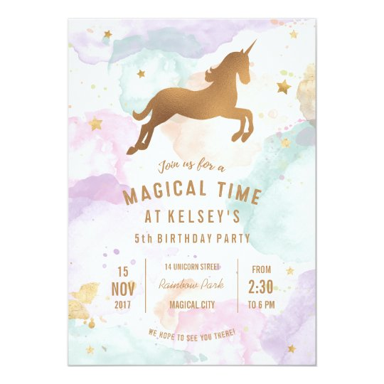 Unicorn birthday party invitation zazzle unicorn birthday party invitation stopboris Image collections