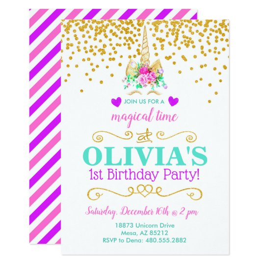 Unicorn Birthday Party Invitation Zazzle Com