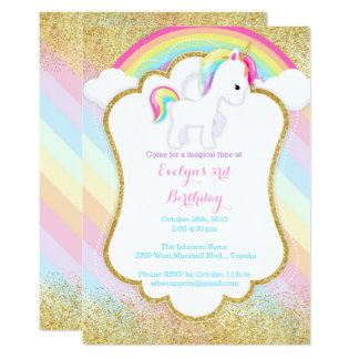Unicorn Birthday Party Invitations & Announcements | Zazzle