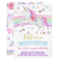 Unicorn birthday party invitation rainbows unicorn