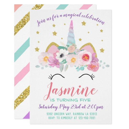 Unicorn Birthday Party Invitation Unicorn Invite