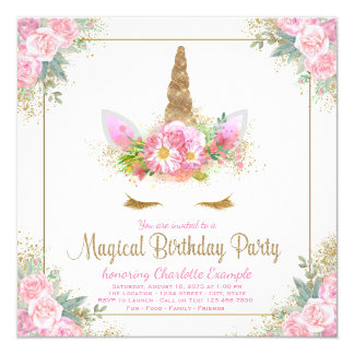 Unicorn Birthday Party Invitations Unicorn Face