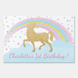Unicorn Birthday Party Lawn Sign Back Drop