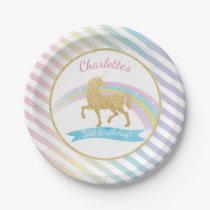 Unicorn Birthday Party Paper Plates