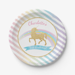 Unicorn Birthday Party Paper Plates at Zazzle