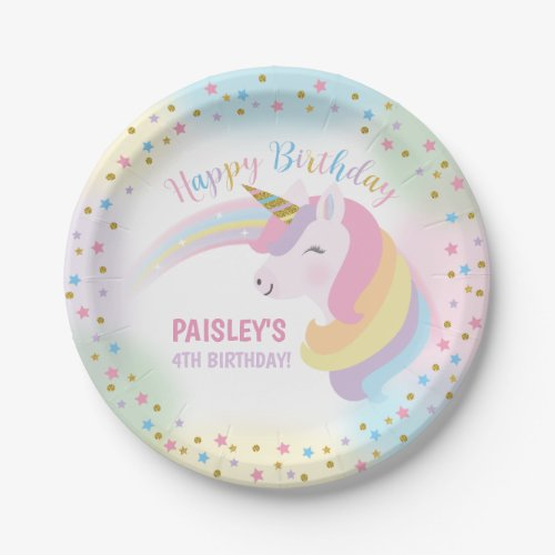 Unicorn Birthday Party Paper Plates