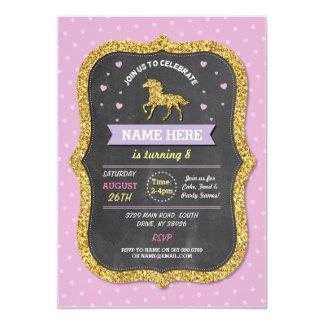 Unicorn Birthday Party Pink Gold Glitter Invite
