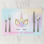 """Unicorn Birthday Party Placemat Magical Pink Gold<br><div class=""""desc"""">Unicorn paper tearaway placemat.  All designs are &#169; PIXEL PERFECTION PARTY LTD</div>"""