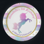 "Unicorn Birthday Party Plate | Watercolor Glitter<br><div class=""desc"">A colorful,  unique unicorn birthday party plate. Unicorn and striped background feature a watercolor wash in tones of teal,  pink,  and purple. Accented by sparkling gold glitter. Perfect for your little girl&#39;s birthday party.  Coordinates perfectly with our matching invitations and party favors.</div>"