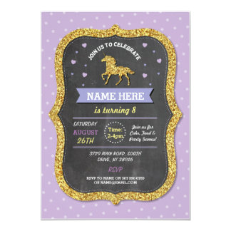 Unicorn Birthday Party Purple Glitter Invite