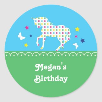 Unicorn Birthday Party Sticker