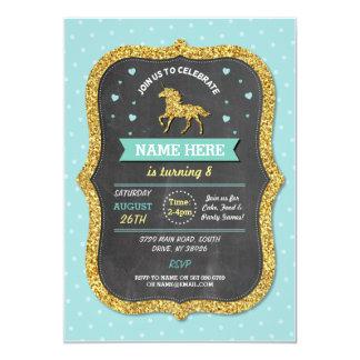 Unicorn Birthday Party Teal Gold Glitter Invite