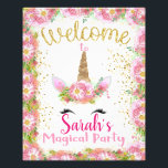"Unicorn Birthday Party Welcome Sign<br><div class=""desc"">Welcome your little girl&#39;s guest to her magical unicorn birthday party with this adorable welcome sign. Designed with pinks,  golds,  glitters,  and flowers.</div>"