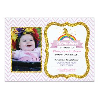 Unicorn Birthday Photo Party Invite Gold glitter