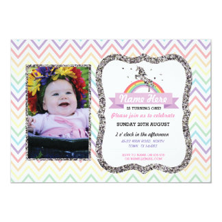 Unicorn Birthday Photo Party Invite Silver Glitter