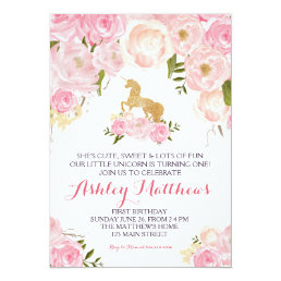 Unicorn birthday pink Beautiful Floral Invitation, Card