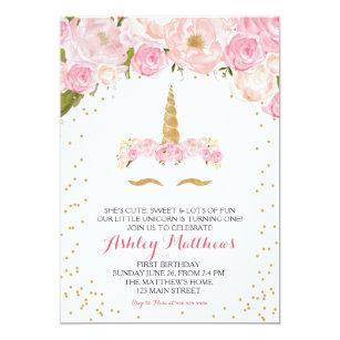 Unicorn Birthday Pink Beautiful Floral Invitation