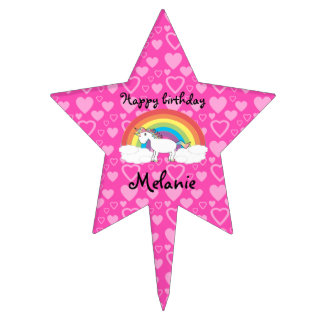 Unicorn birthday star cake topper
