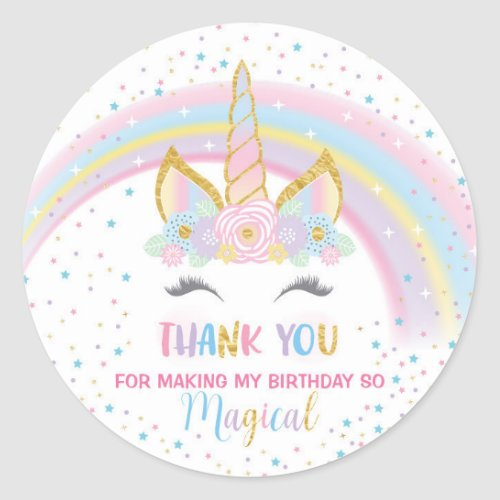 Unicorn Birthday Star Favor Stickers