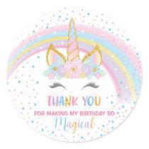 Unicorn Birthday Star Favor Stickers