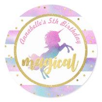 Unicorn Birthday Sticker | Watercolor Glitter