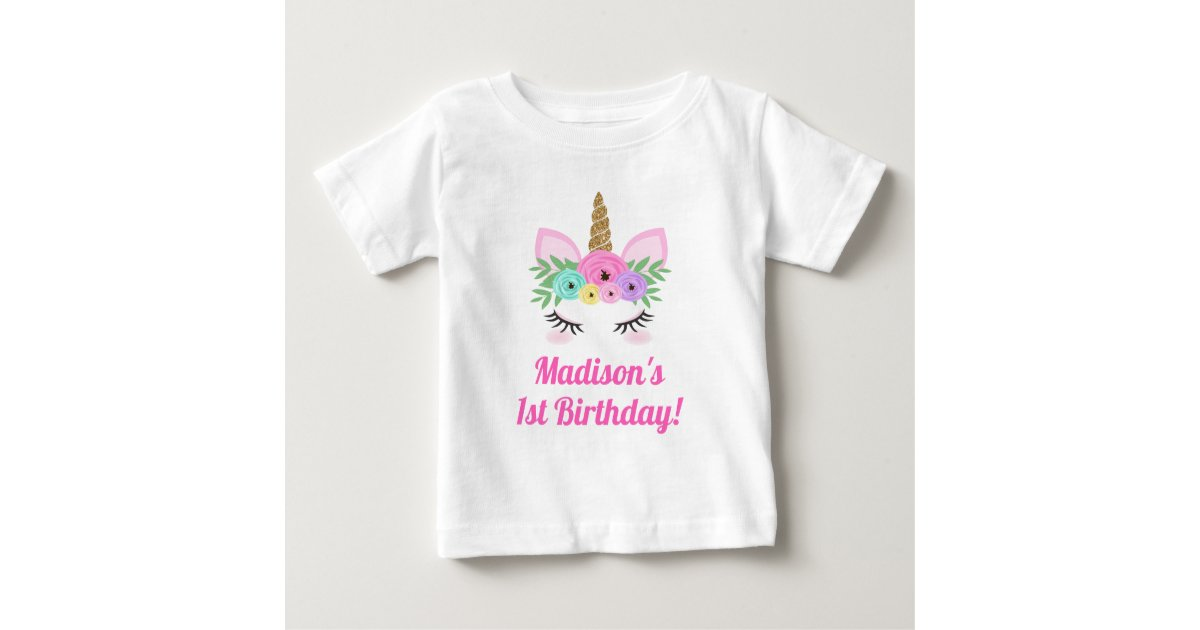 ba323b7d1 Unicorn Birthday T-Shirt Baby Toddler Child | Zazzle.com