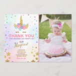 """Unicorn Birthday Thank you card Pink Gold Magical<br><div class=""""desc"""">♥ A perfect way to thank your guests! With a unicorn theme for a magical party!</div>"""